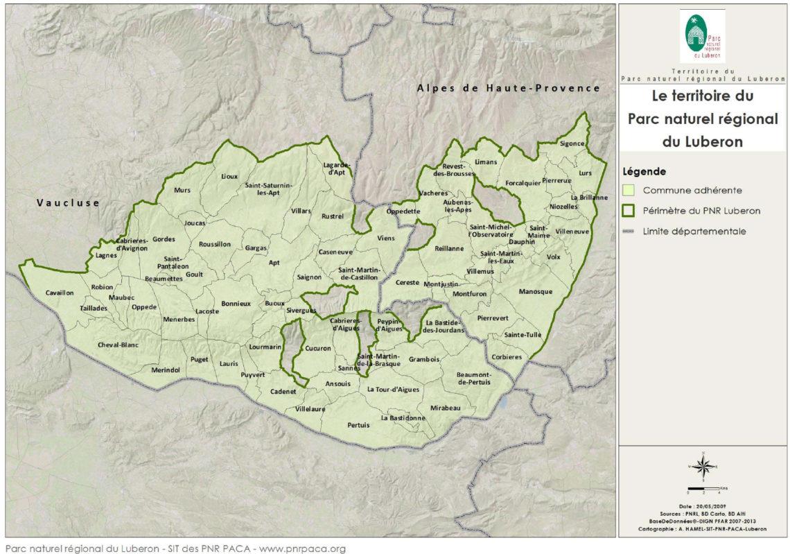 Mappa del territorio Geoparco mondiale dell'UNESCO UNESCO Luberon